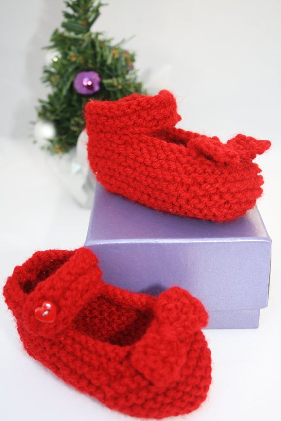 Baby slippers baby shoes Baby girl red shoes 36 by sweetygreetings, £2.40