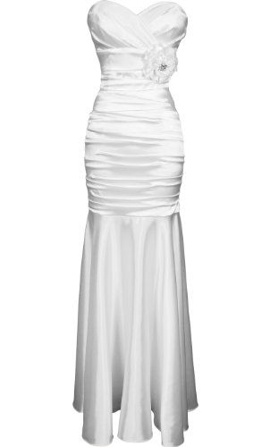 satin bandage trumpet formal dress prom gown crystal flower brooch