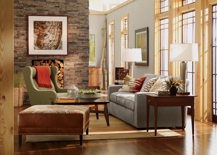 Lodge Living Room With Eden Wing Chair By Ethan Allen