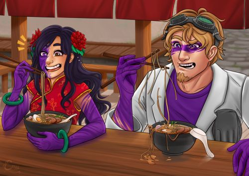 erudraws:  Kim treats Duncan to some ramen, but Duncan isn't yet used to his fluxy fingers.I've had this idea/sketch for a long while now and it took me ages to actually finish it haha. So glad it's finally done!