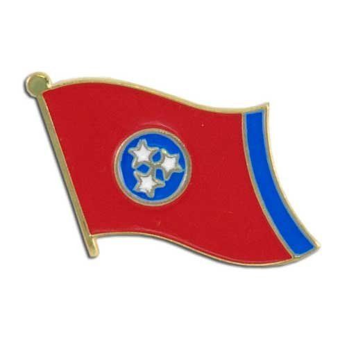 """Tennessee Flag Lapel Pin by US Flag Store. $1.29. Gold Metal Lacquered Design and Clutch Pin. Approx 3/4"""" x 1/2"""". State Flag Lapel Pin. Baked Enamel Finish. Low Cost Shipping Available!. The Tennessee flag lapel pin is a great way to show your support for your state. Our pins cost less than our competitors, but are equal or higher quality. We sell thousands of pins a week, and we pass the savings on to you! This Tennessee Flag lapel pin has an all gold metal lacquered design..."""