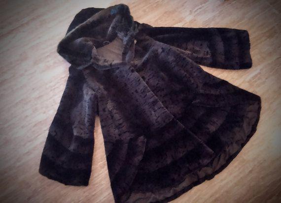 Fur Coat/ Real rex fur with Saga mink hood/ Blue black color/ full skinned