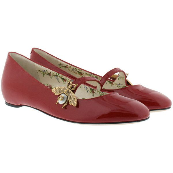 Gucci Ballerinas - Patent Leather Ballet Flat With Bee Red - in black... ($670) ❤ liked on Polyvore featuring shoes, flats, black, red flat shoes, ballet pumps, red flats, black flat shoes and ballerina flats