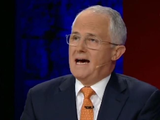 Malcolm Turnbull waffles his way through last night's Q&A. Picture: ABC