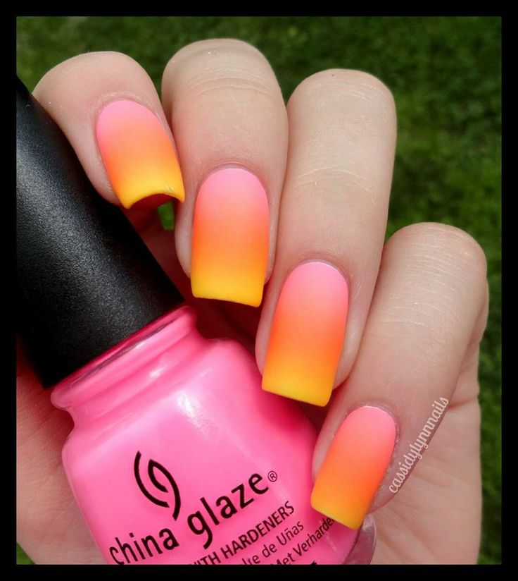 Bright Orange And Neon Pink Ombre Nails