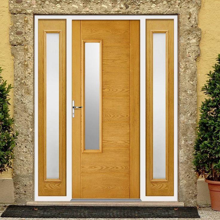 GRP Oak Newbury Glazed Composite Door with Two Sidelights. #externaldoor #frontdoor #entrance