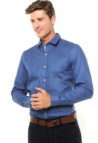 Camisa Lacoste Lisa Azul