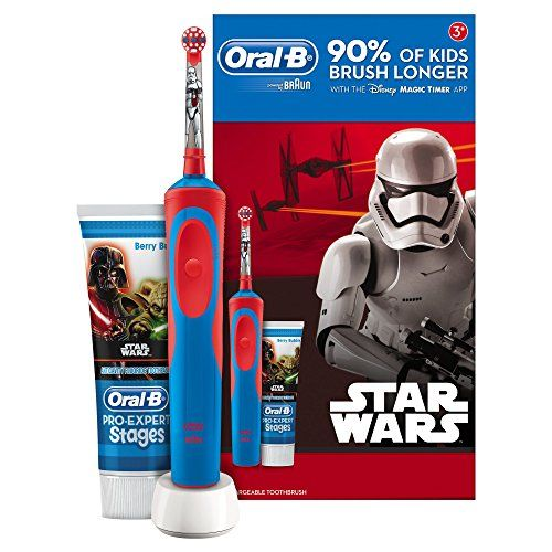 Oral-B Stages Power Kids Electric Toothbrush Featuring Star Wars Characters, Gift Pack Including Toothpaste