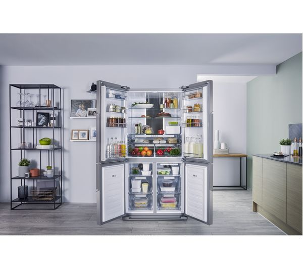 HOTPOINT Quattro HPSN 4T Fridge Freezer - Silver Inox