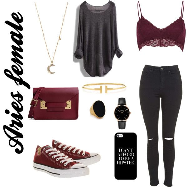 Aries female by kaysielee on Polyvore featuring polyvore, fashion, style, Topshop, River Island, Converse, Sophie Hulme, Tiffany & Co., CLUSE, Kenneth Jay Lane, Blu Bijoux, Casetify, burgundy, Aries, thesigns and ariesfemale