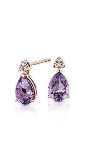 5ce6143ad ... these earrings feature pear-shaped amethyst gemstones embraced in 14k  rose gold and adorned with a cluster of radiant round-cut diamonds.