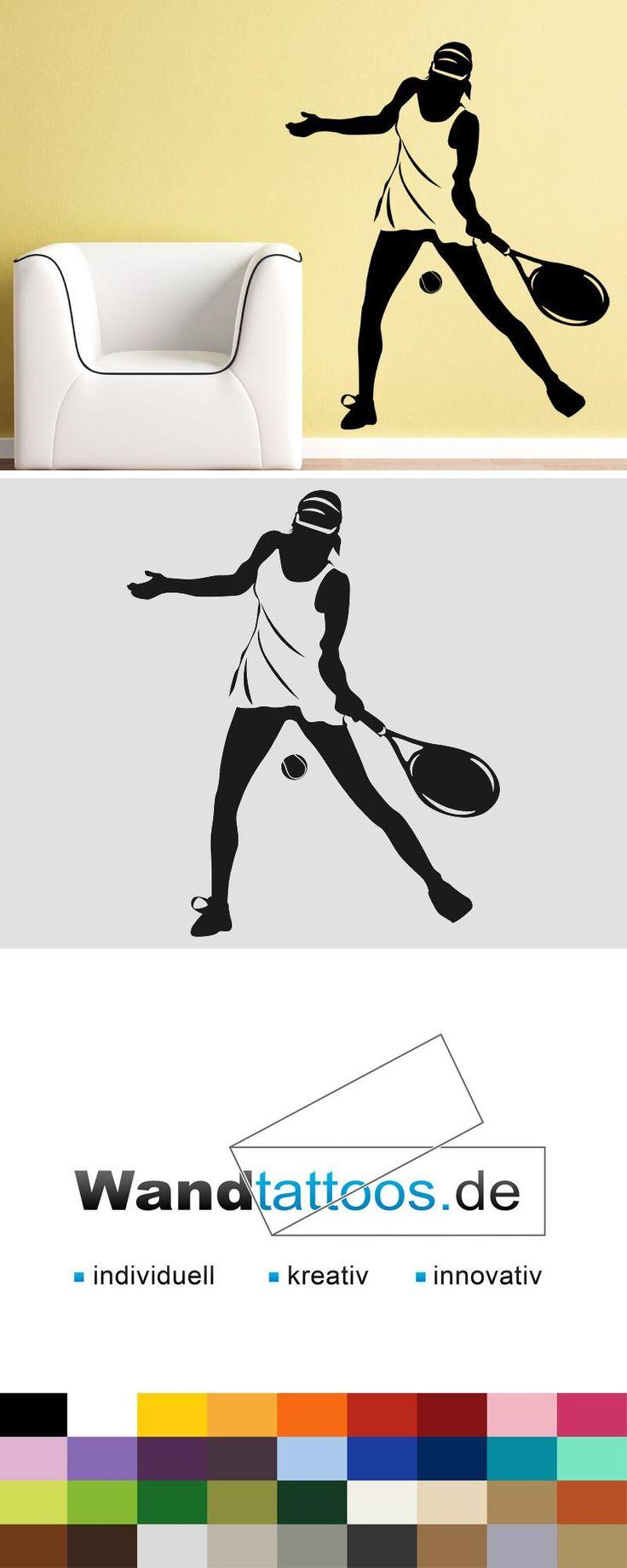 Wandtattoo Tennisspielerin als Idee zur individuellen Wandgestaltung. Einfach Lieblingsfarbe und Größe auswählen. Weitere kreative Anregungen von Wandtattoos.de hier entdecken!