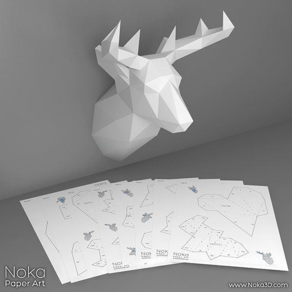 ♦ BUY 2 GET 3! ♦ Buy two 9$ models and get the 3rd one for FREE! Simply add 3 models to your cart and enter coupon code BUY2GET3 at checkout.  • This listing is for a digital instant download PDF file •  DIY template for creating a 3D model of a deer head to use as a wall decoration. You need: a printer, cardstock paper (8 sheets), utility knife or scissors and glue.  Final model size: 36 x 26 x 24 cm (14.2 x 10.2 x 9.5 inches).  The included instruction page will give you a step by step…