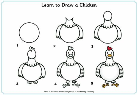 Learn to draw a chicken step by step for kids-use for diligence lesson with the Little Red Hen