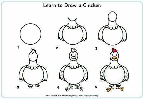¿Qué puedo hacer hoy?: Dibujos paso a paso: gallina