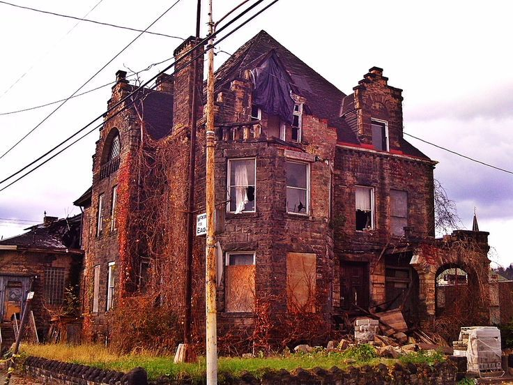 The abandoned Hitzrot House, McKeesport, Pennsylvania, USA. The house was built in 1892 for Dr. Henry Hitzrot, and stood at 626 Market Street, McKeesport.  It was designed by noted  Pittsburgh architect Frederick Sauer. It later became the local Eagles Club.  The building was demolished by the city on July 21, 2014.