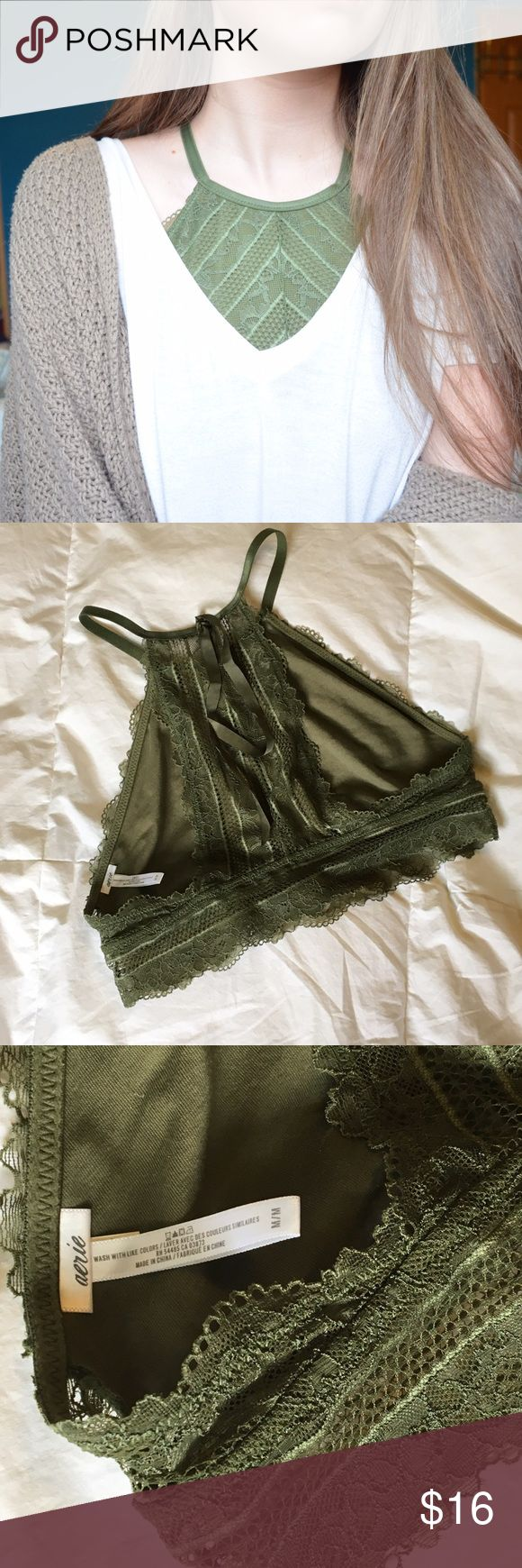 Aerie Green Lace High Neck Bralette EUC, this bralette is super dainty & 2die4. Size M, fits around 34-36 A-D(?). There is a lot of fabric on the front, so it can fit bigger cup sizes (I'm an A and just wear a strapless bra under). Little ribbons in back, love the look but I have trouble finding what to wear with it. Pair with some green socks & birks to be xtra daring. aerie Intimates & Sleepwear Bras