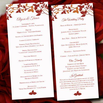 printable wedding program template forever entwined fall colors red orange order of service. Black Bedroom Furniture Sets. Home Design Ideas