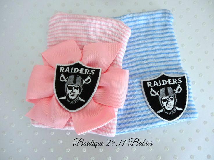 You Choose~ Newborn Hospital Hat with Oakland Raiders Emblem-baby girl raiders hat-baby boy raiders hat-infant girl bow raiders by Boutique2911Babies on Etsy