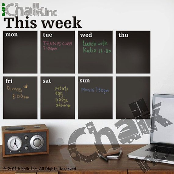 This Week Calendar Planner Chalkboard Sticker Wall Decal for Home or Office - Modern Chalk Blackboard Weekly Planner Chalkboard