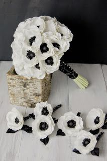 paper flowers wedding bouquet black and white wedding