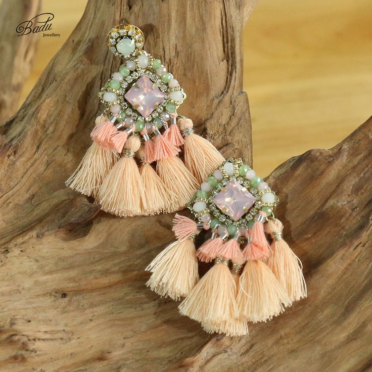 Cute pink tassel earring, with crystals
