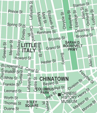 Map of Chinatown and Little Italy, NYC