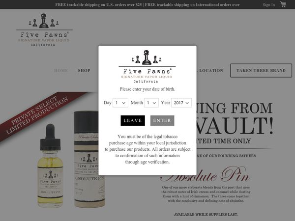 #Five Pawns - 10% off The Cync Vaping Device.