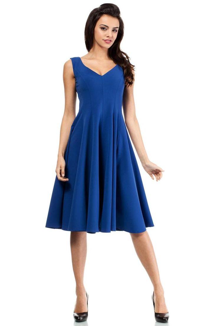 Blue High Waisted Dress With Flared Skirt