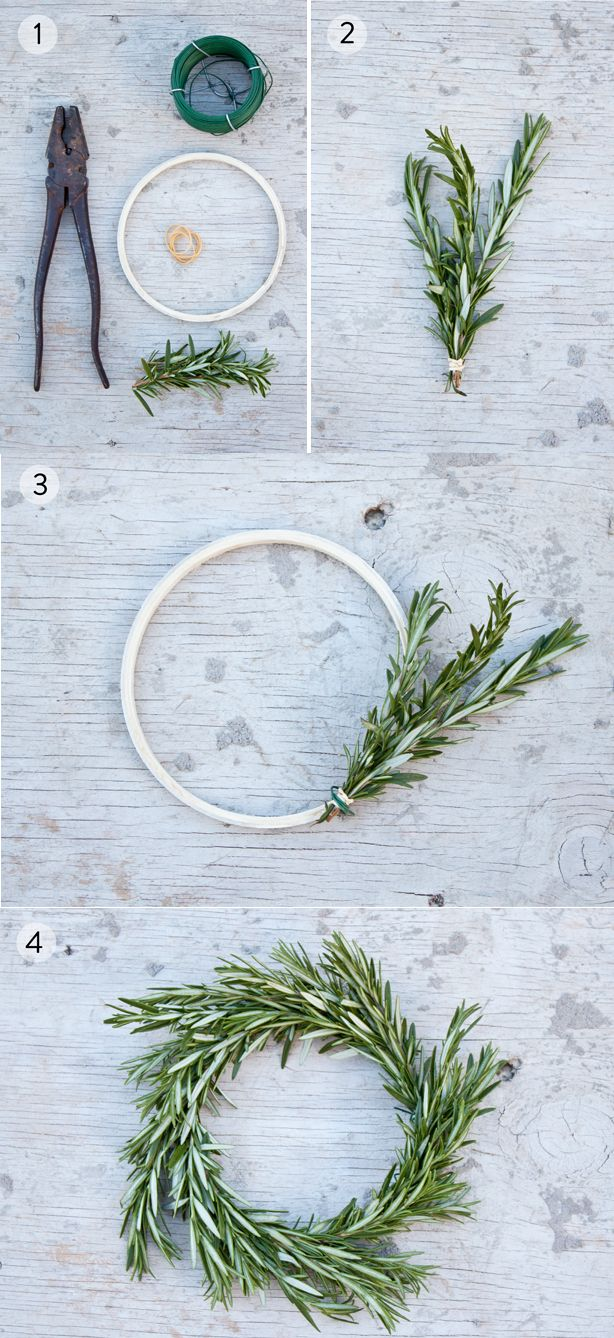 DIY Rosemary Wreath (could be applied to napkin rings for your holiday table!)