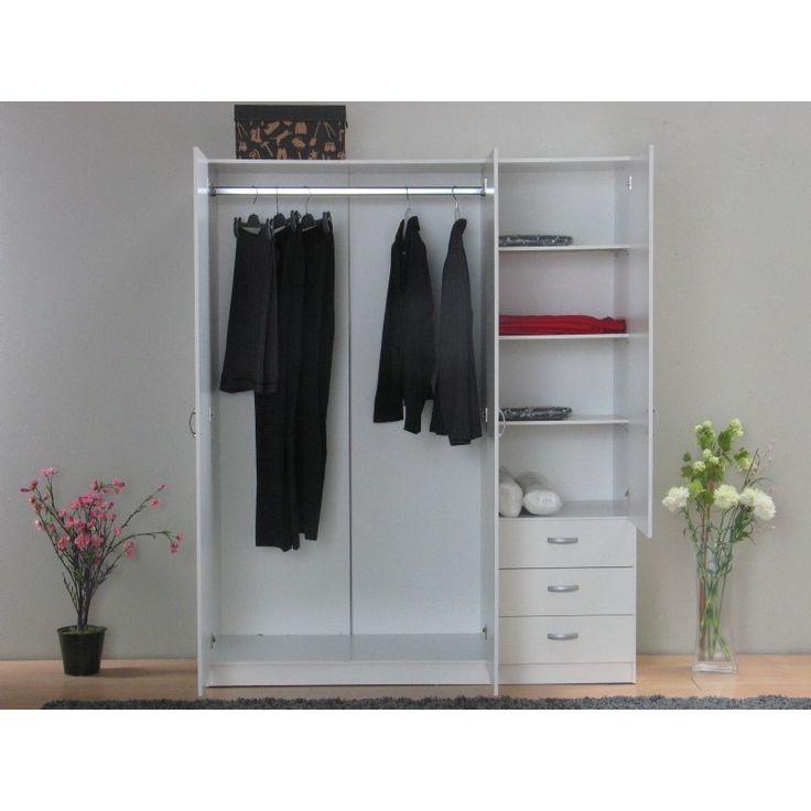 Focus garderobeskap med 3 dører og 3 skuffer bredde 144 cm, høyde 176 cm hvit.
