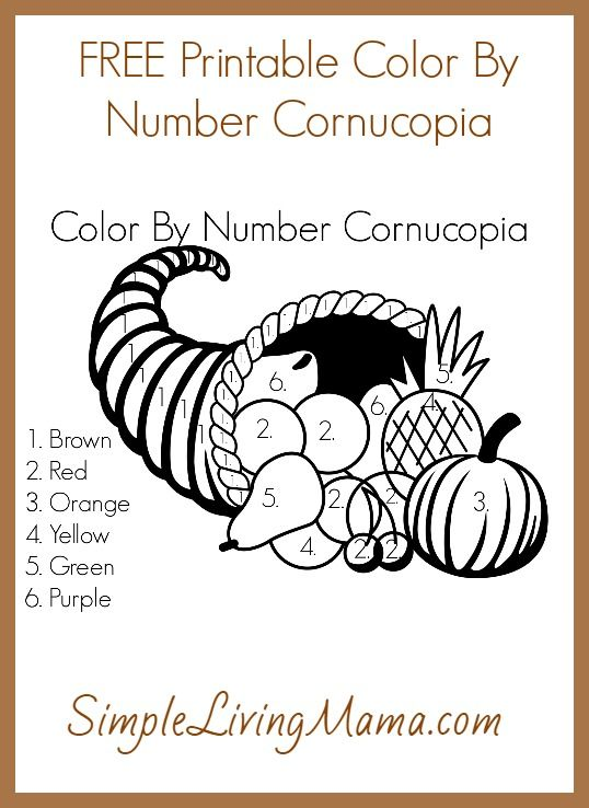 FREE Printable Color By Number Cornucopia | simplelivingmama.com