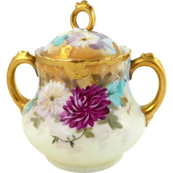 Antique Limoges Sugar Bowl Artist Signed Marsal Blakeman & Henderson