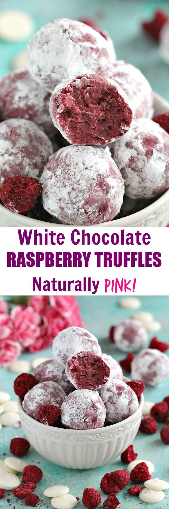 5 ingredients only, these White Chocolate Raspberry Truffles are very easy to make, full of flavor, gluten free and have a natural pink color!