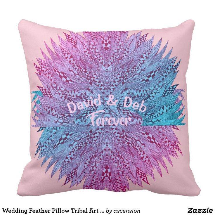 Wedding Feather Pillow Tribal Art Personalized