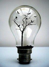 For NatashaLights Bulbs Art, Ideas, Snow Globs, Snow Globes, Trees, Crows, Lightbulbs, Birds, Ravens