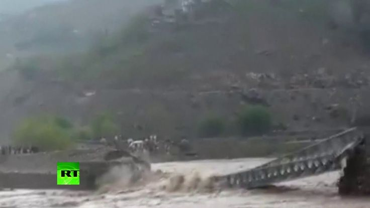 Bridge swept away by flash floods in Pakistan