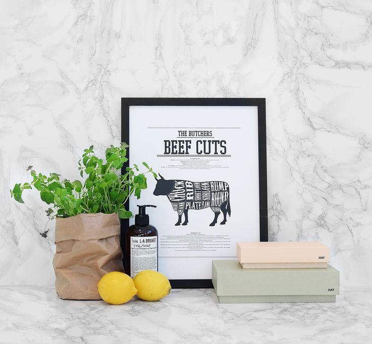 Beef cuts poster with marble interior, perfect for the kitchen. Poster and picture from desenio.se