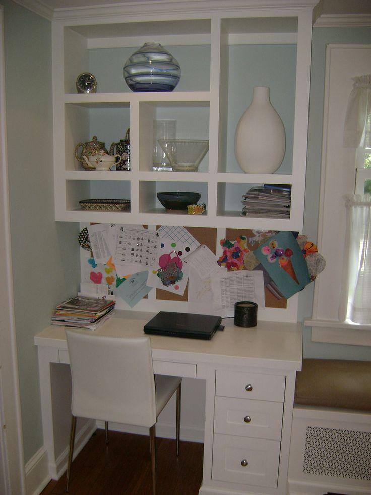 Small desk area- love the shelving