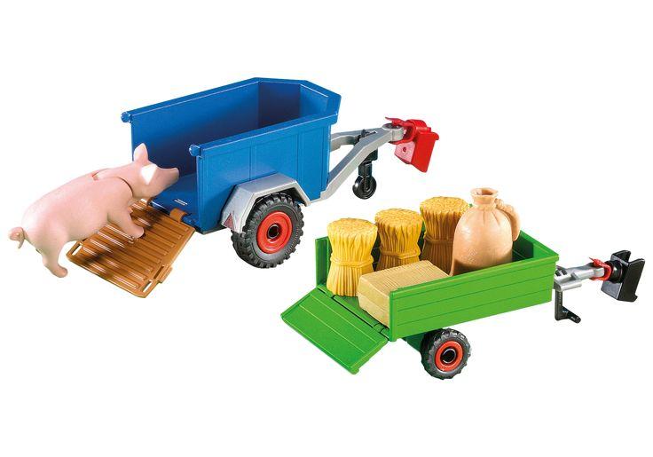 2 Aanhangwagens voor tractor - 7439 - PLAYMOBIL® Nederland