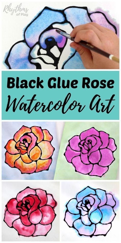 Black glue rose watercolor resist art project. A fun and easy spring and summer flower painting idea for kids, teens, and adults. The tutorial includes how to make black glue and basic beginning watercolor techniques to use for inspiration. Makes a simple