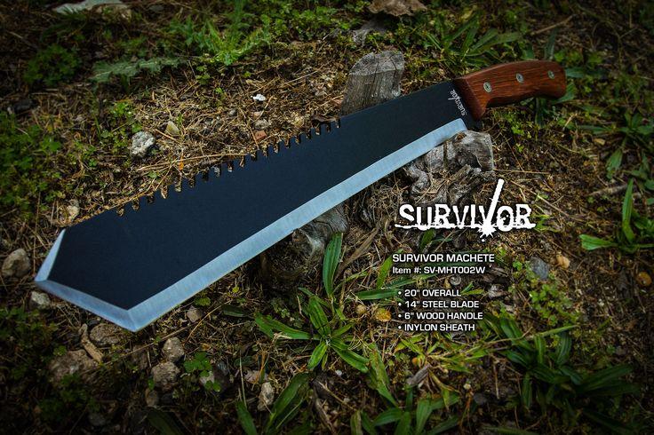 "NEW SURVIVOR MACHETEItem #: SV-MHT002W 20"" OVERALL14"" 3CR13 STEEL BLADE6"" WOOD HANDLENYLON SHEATH#machete #woods #survivor2017 #stainlesssteel #outdoors @mastercutleryllc #safari"