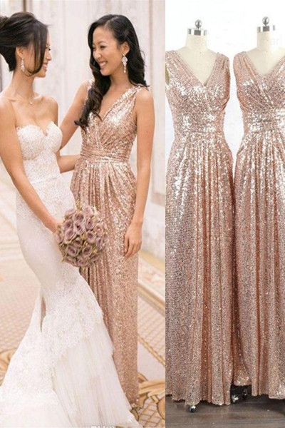 Simple V-neck Sparkly Prom Dresses,Long Bridesmaid Dresses,Handmade High