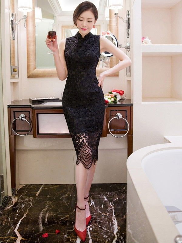 Black Lace Sleeveless Qipao / Cheongsam Dress