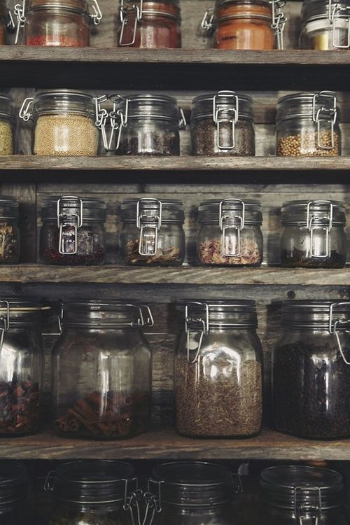 Kitchen Organization- hermetically sealed jars look beautiful and seal everything!