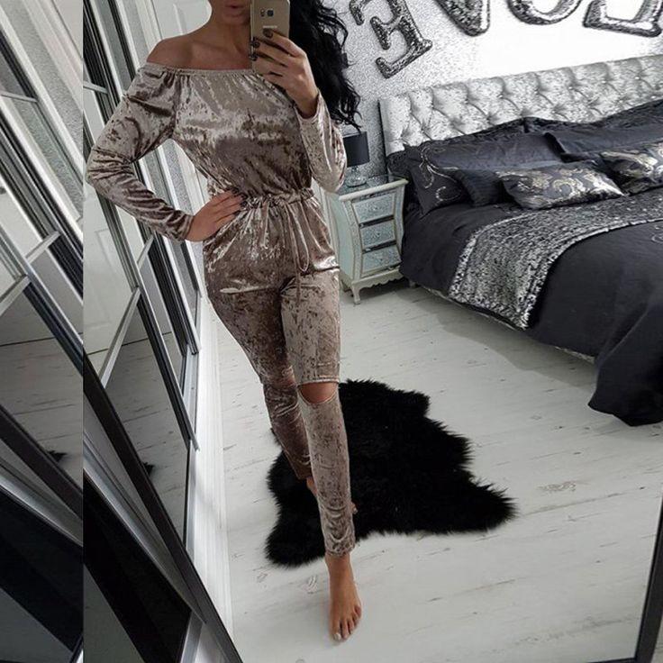 人気の秋女性固体スリムベルベットオフショルダーストラップレストップス長い中空アウトパンツジャンプスーツ