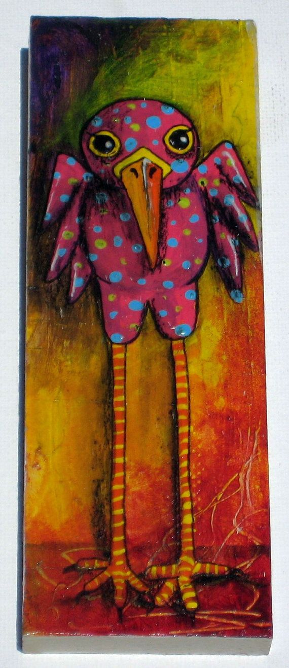 Whimsical Bird Painting by damadiva on Etsy, $45.00