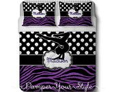 Gymnastics Comforter or Duvet with 2 Matching Shams - Personalized Gymnastics Polka Dot and Zebra Bedding - Glitter Zebra Bedding - pinned by pin4etsy.com