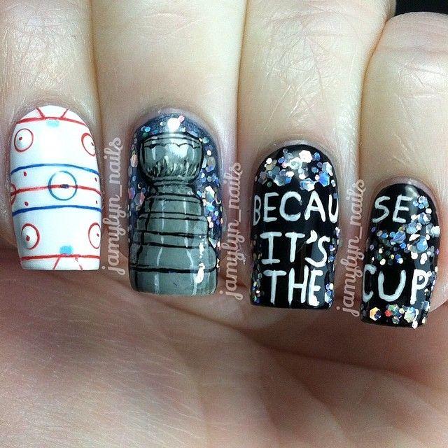 jamylyn_nails stanley cup #nail #nails #nailart more amazing hockey nails from @Jamy Mawhorter