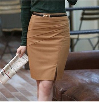 2014 New Style Black Camel Color Solid  Bust Skirt Women's Career Slim Hip Middle Waist Big SizeXXL Pencil Skirts $18.80